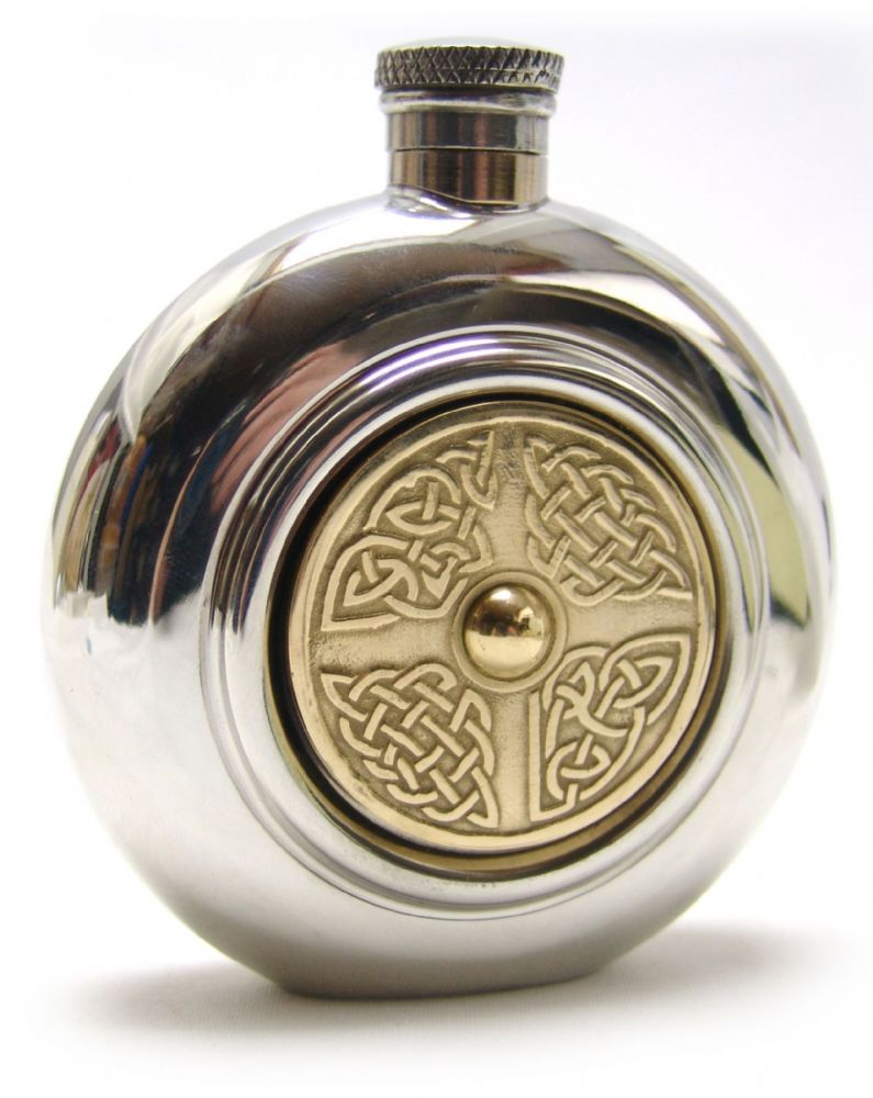 Celtic Golden Kells Shield Brass Pewter 6oz Hip Flask  Engraving Option
